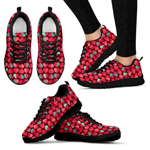 Image of Oompah Casuals Shoes. Womens Red/Mint Hearts