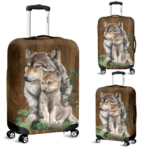 Wolf Mother & Puppy Luggage Protective Cover