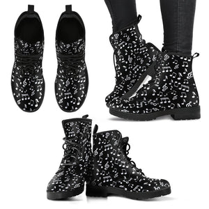 Black Music Notes Design Shoes. Womens Leather Boots