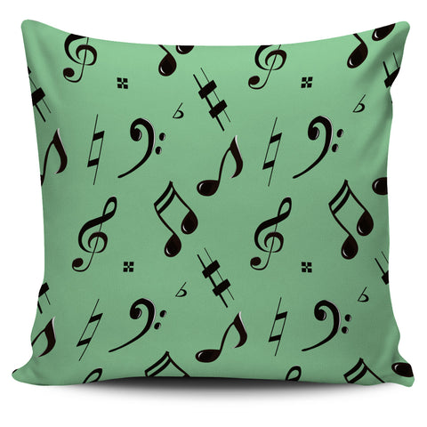Music Note Pillow Green