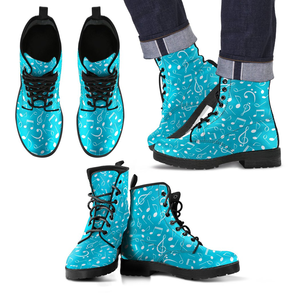 Blue Music Note Shoes. Mens Leather Boots EXPRESS Delivery