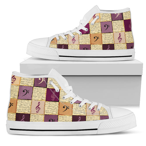 Classical Music Shoes. Womens High Top Canvas