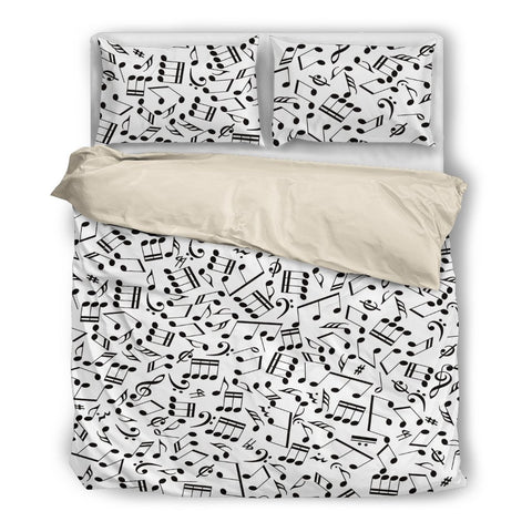 Bedding Set Music Notes design Black
