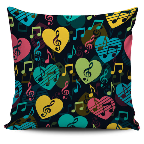 Music heart and treble clef pillow