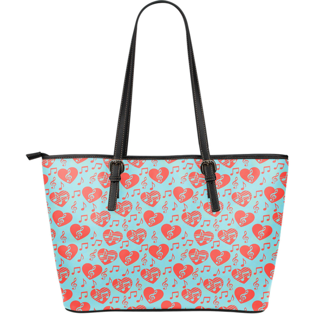 Music Hearts Large Leather Tote Bag