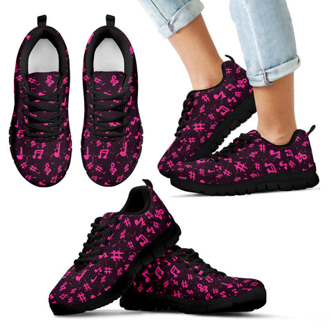 Image of Pink Music Notes childrens Sneakers Shoes .