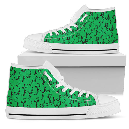 Green Music Note Shoes. Womens High Top Canvas