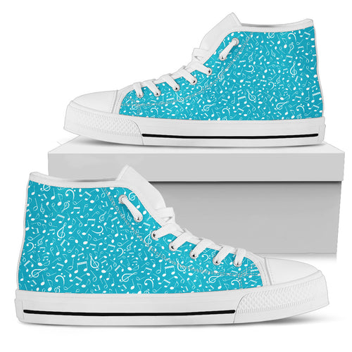 Turquoise Note Design Shoes. Womens High Top Canvas