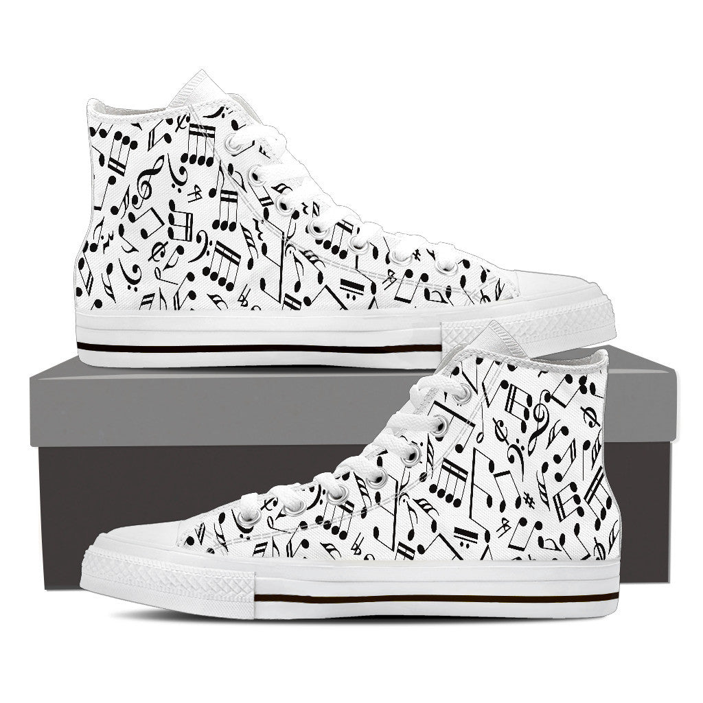 Womens Music Notes Black and White High Top Canvas Shoes