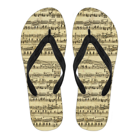 Sheet Music Design. Mens Flip Flops