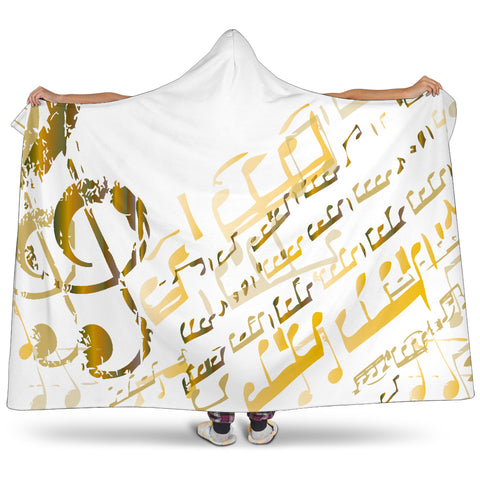 Golden Music Notes Hooded Blanket Cosy Style