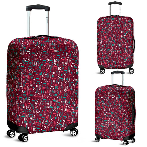Image of Red music notes luggage cover