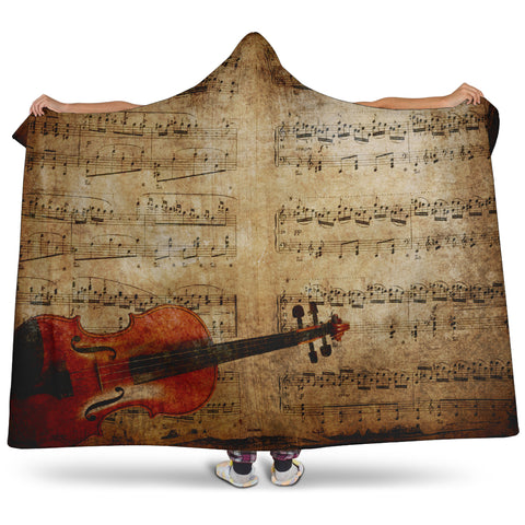 Vintage Sheet Music Notes + Violin Hooded Blanket Cosy Style