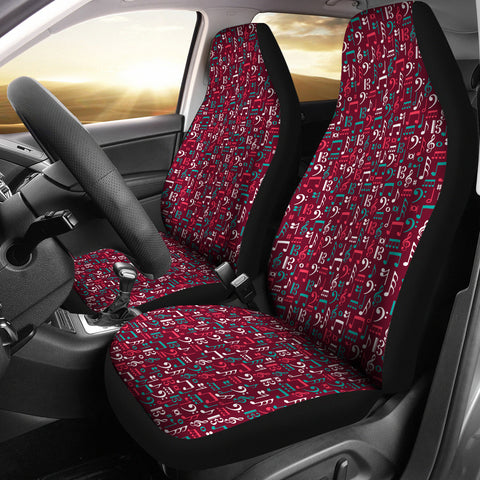 Image of Red Music Notes Car Seat Cover