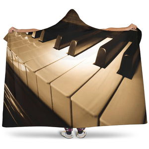 Piano Music Hooded Blanket
