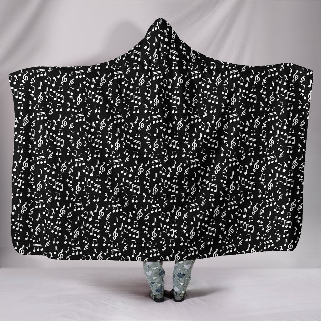 Black Note Design Hooded Blanket