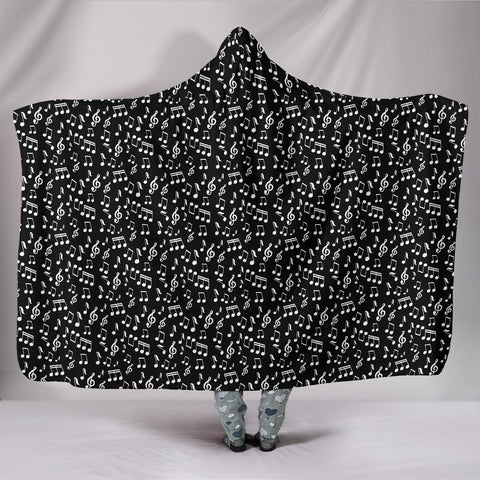 Image of Black Note Design Hooded Blanket