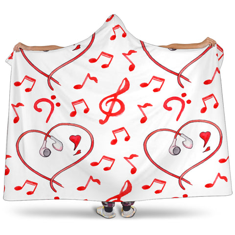 I Love Music Hooded Blanket Cosy Style