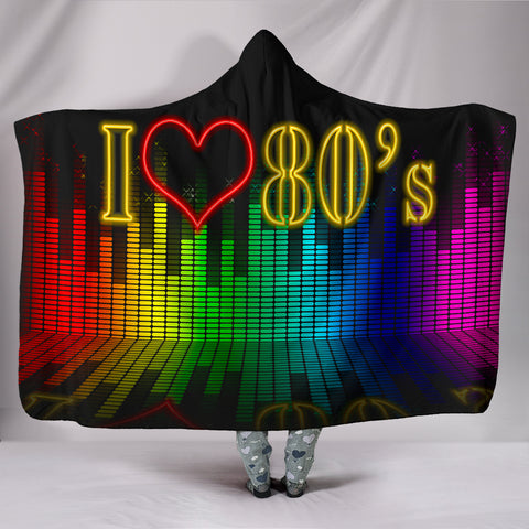Love The 80's Plush Lined Hooded Blanket