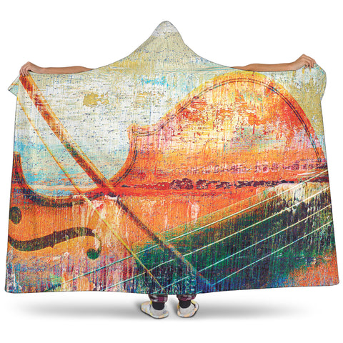 Image of Violin Music Art Cosy Style Hooded Blanket