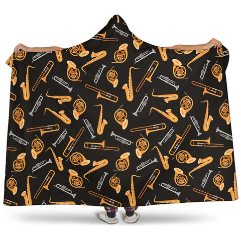 Wind Instruments Design Cosy Hooded Blanket