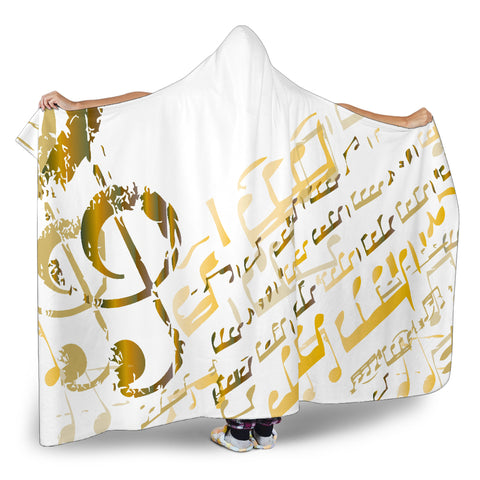 Image of Golden Music Notes Hooded Blanket Cosy Style