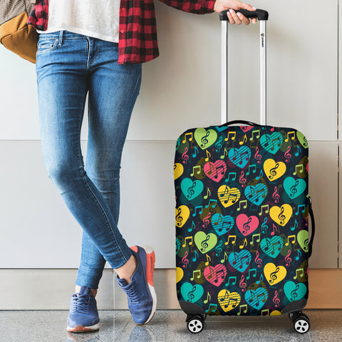Image of Music Notes Hearts Luggage Cover