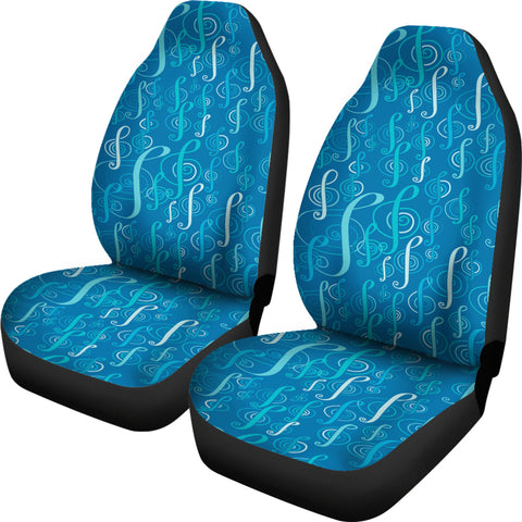Image of Car Seat Covers Blue treble clefs