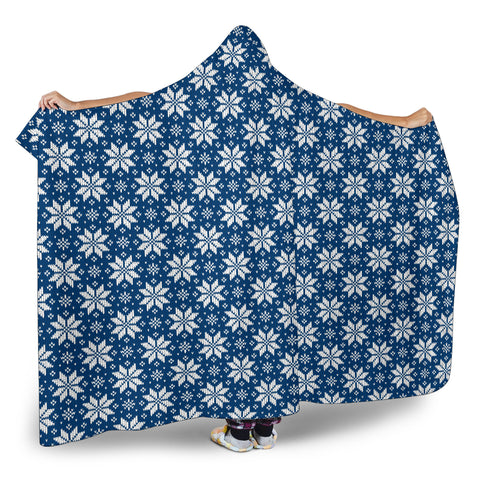 Image of Knitting art Norwegian Style Hooded Blanket