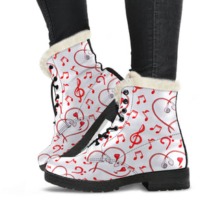 Music Heart Notes Design Faux Fur Leather Boots Winter Shoes
