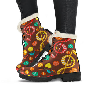 Music Notes Candy Design Faux Fur Leather Boots Winter Shoes