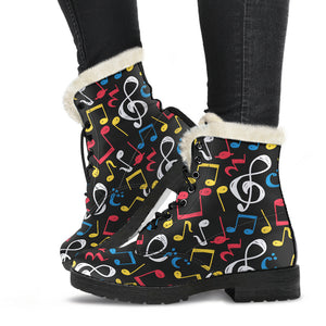 Blue, Red Whiten and Yellow Music Notes Faux Fur Leather Boots Winter Shoes