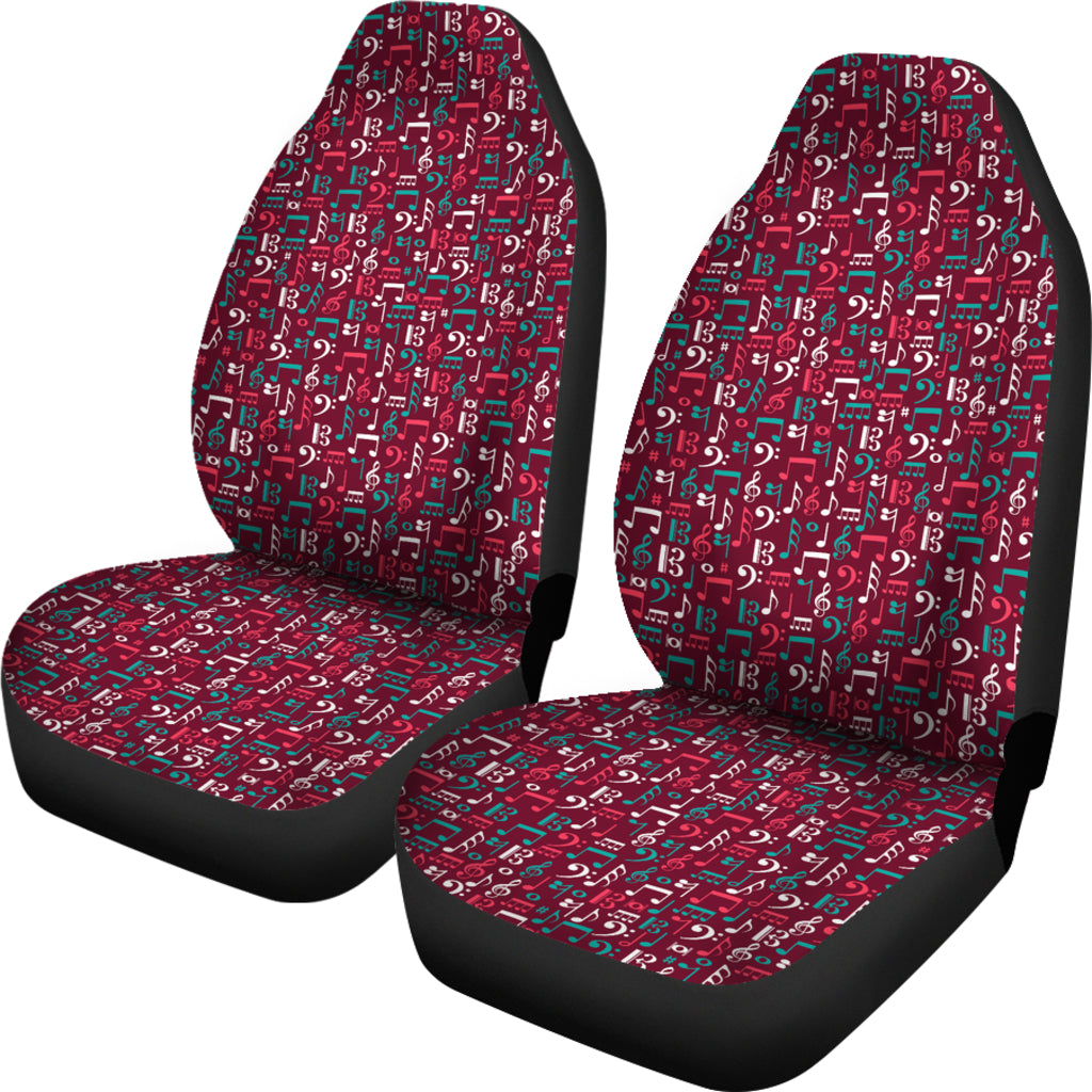 Red Music Notes Car Seat Cover