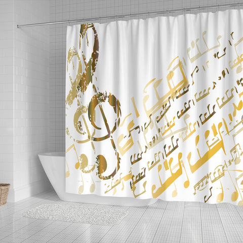 Image of Golden Music Notes Shower Curtain
