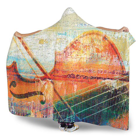 Violin Music Art Cosy Style Hooded Blanket