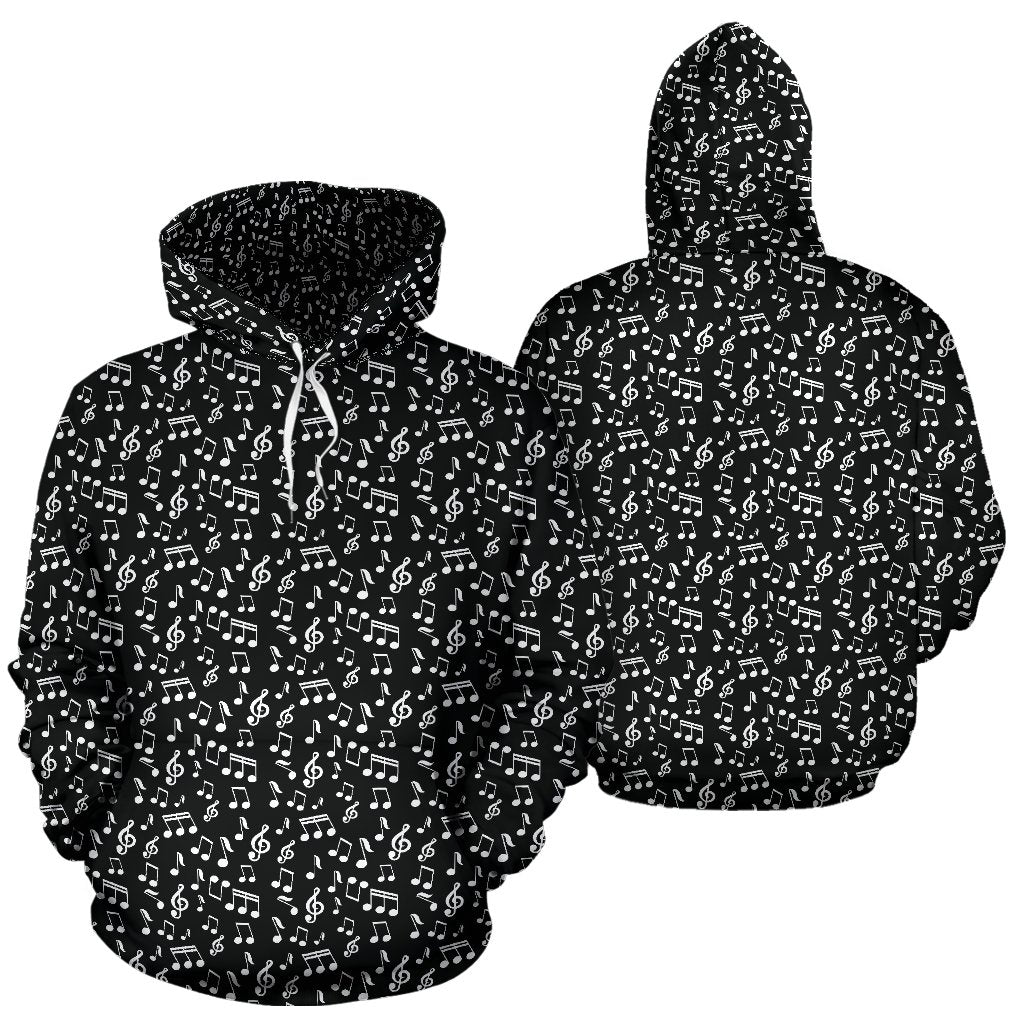 Black Music Note Design Hoodie
