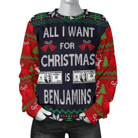Image of Ugly Christmas Sweater All I Want is Benjamins for Women