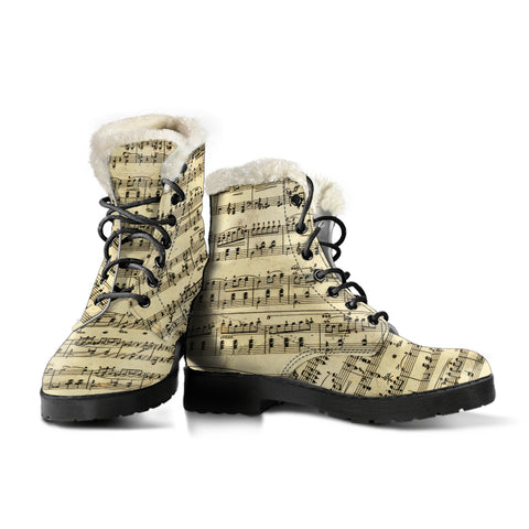 Sheet Music Faux Fur Leather Boots Shoes