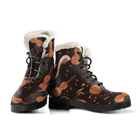 Strings and Notes Violin Faux Fur Leather Boots Shoes