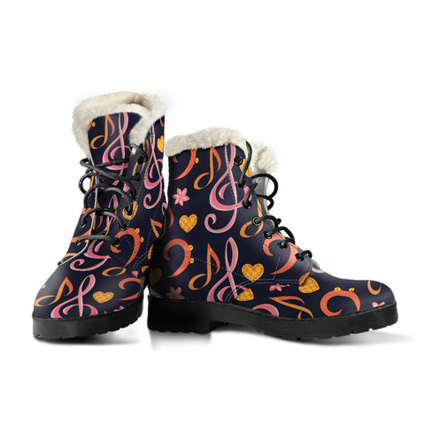 Pink Music Notes Faux Fur Leather Boots Winter Shoes