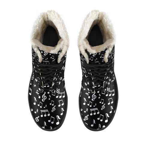 Black Music Notes Design Faux Fur Leather Boots Shoes