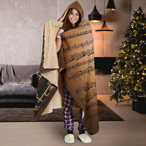 Sheet Music Notes Oboe Hooded Blanket Cosy Style