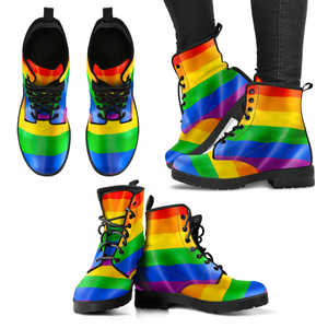 Image of Gay Pride -  Rainbow Vegan Women's Leather Boots