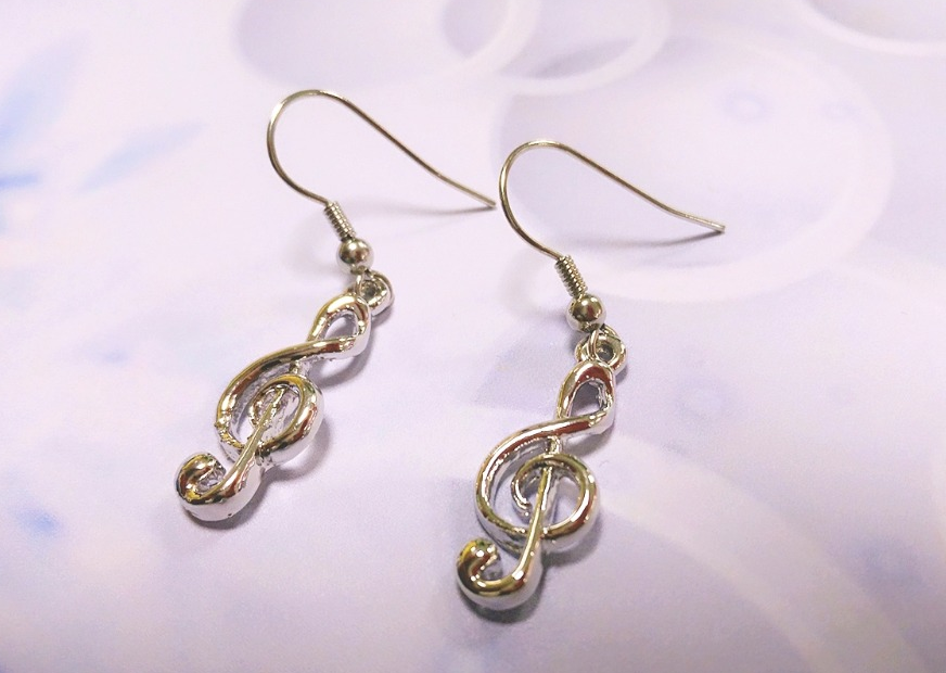 Music Note Ear rings. Treble Clef  Music Lover Jewelry Hook