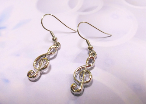 Image of Music Note Ear rings. Treble Clef  Music Lover Jewelry Hook