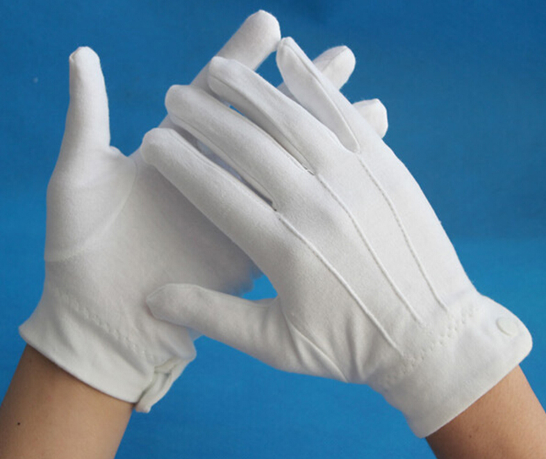 White Tuxedo Gloves 1 Pair For  Marching Band & Parades
