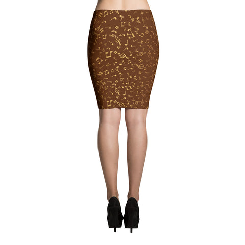 Image of Golden Notes Womens  Pencil Skirt