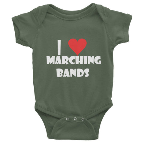 Image of I Love Marching Bands, Childrens Infant short sleeve one-piece