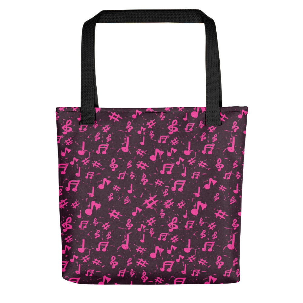 Pink Music Notes, Tote bag