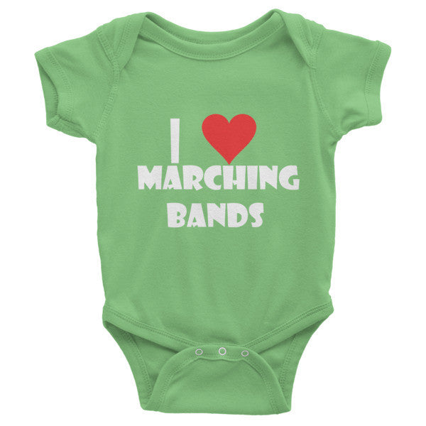 I Love Marching Bands, Childrens Infant short sleeve one-piece